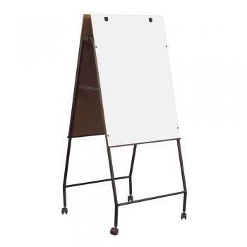 A mobile whiteboard on an aluminum frame is shown.
