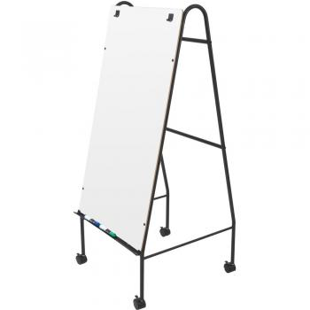 A lightweight melamine board, sturdy steel frame and 2 inch rolling casters make moving this freestanding whiteboard around the classroom easy.