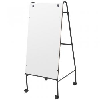 A large rolling melamine dry erase whiteboard with a full length accessory tray.