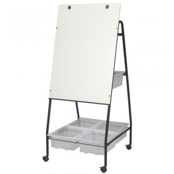 A dry erase whiteboard on an easel has brass hooks for flip chart display.