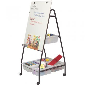 Four supply bins help keep the classroom neat on this dry erase whiteboard organizer.