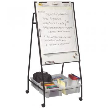 A rolling whiteboard easel displayed with four whiteboard organizer tubs,