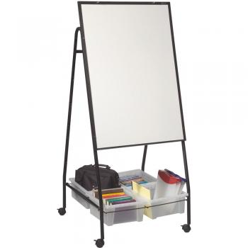 A magnetic dry erase whiteboard doubles as a magnetic bulletin board.