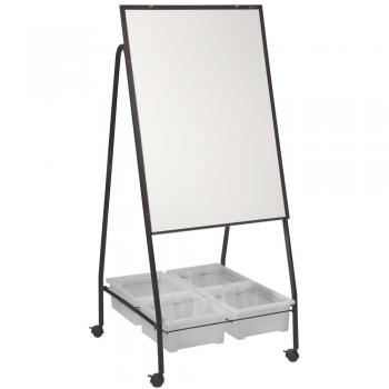The magnetic dry erase steel whiteboard has brass flip chart pegs.
