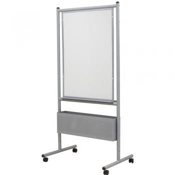 A view of the free standing magnetic white board in melamine and with an aluminum frame is shown with locking casters.