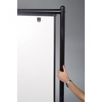 A close up of the black finished aluminum frame attached to the portable free standing whiteboard on casters.