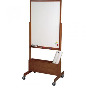 The easel for the dry erase whiteboard features an accessory tray and a wooden frame. The wooden frame comes in two finishes and multiple units nest together for easy storgae.