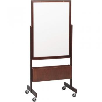 A rolling whiteboard, either melamine or porcelain covered steel, stands on a solid wooden easel on 3 inch casters.