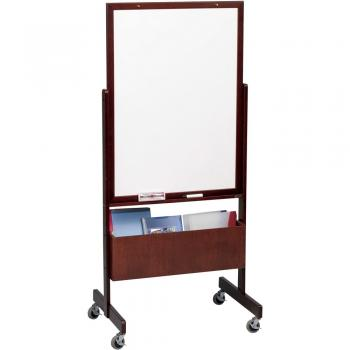 A movable whiteboard framed in wood trim.