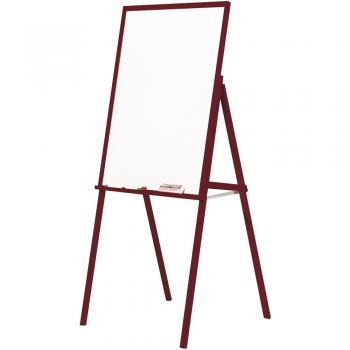 A solid wooden framed magnetic dry erase whiteboard freestanding easel.