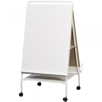 A dry erase board and easel is displayed in a classroom.