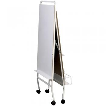 A dry erase board and easel is displayed folded for storage.