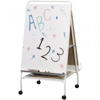 A dry erase board and easel is displayed with dry erase marker.