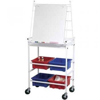 This free standing dry erase board rolls on casters and has a full length accessory tray.d