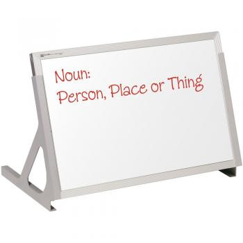 This free standing desktop dry erase magnetic white board has adjustable legs for tabletop display and easy storage. The reverse side of the board is hook and loop fabric.