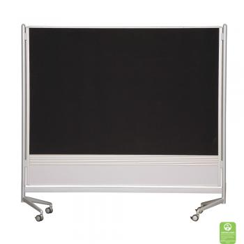 Magnetic Dry Erase And Hook and Loop Room Divider shown with black fabric.