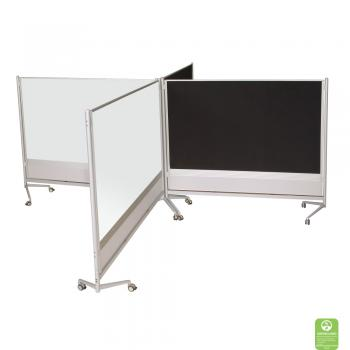A dry erase display board room divider connected in a room display.