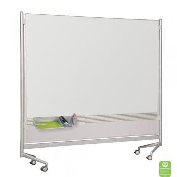 A dry erase display board room divider with a HPL dry erase surface.