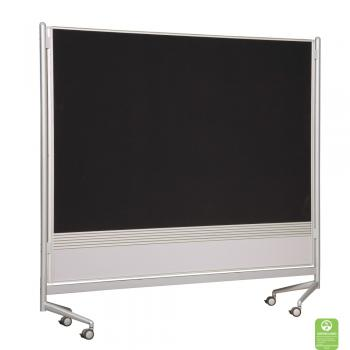 A dry erase display board room divider with hook and loop fabric.