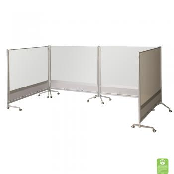 Dry Erase Room Partitions are assembled into a classroom space.