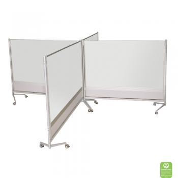 Dry Erase Room Partitions are assembled into cubicles.
