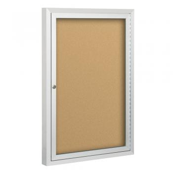 An enclosed bulletin board that has a plexiglass cover to keep your documents safe.
