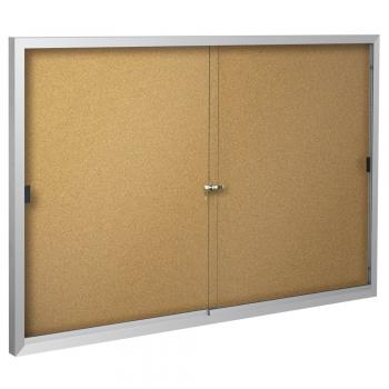 The cork board display is pictured in an aluminum frame.
