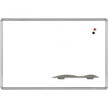 A magnetic dry erase white board trimmed in aluminum that is wall mounted.