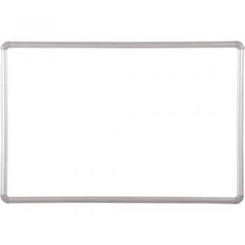 This dry erase magnetic white board also serves as a magnetic bulletin board.