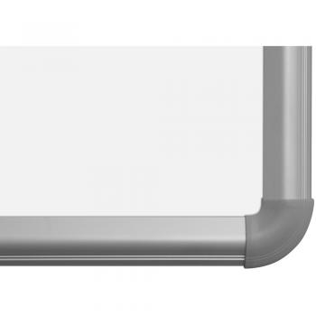 A rounded corner made of matching aluminum on the magnetic dry erase white board with aluminum frame.