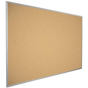 A side view of a framed cork board in a silver aluminum frame,