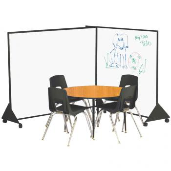 A dry erase preschool room divider is displayed in a classroom setting.