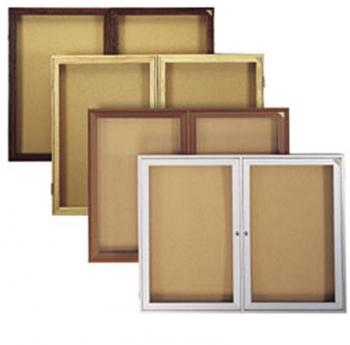 Displayed is the enclosed cork bulletin board with locking panels in many different finishes.