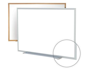 The melamine dry erase white board is available in many different sizes ranging from small to large and has many different frame options.