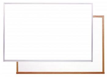Classroom magnetic dry erase white board available in many sizes for wall mounting.