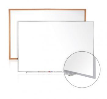 A magnetic dry erase white board with either wood or aluminum frame available in multiple sizes.