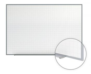 A lined office white board has grid lines.
