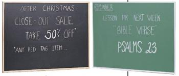 A black and a green framed chalkboards are shown in black and wood and in green and aluminum.