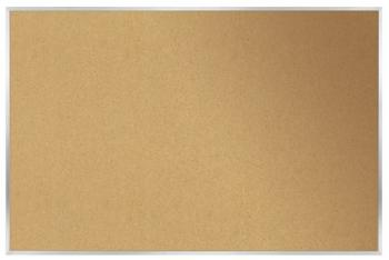 A cork board bulletinboard is displayed with aluminum trim.