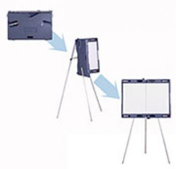 The dry erase magnetic whiteboard is shown on its telescoping legsl