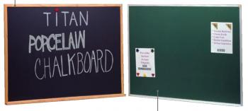 Porcelain steel black and green large chalkboards are displayed in anodized aluminum frames with full length accessory trays.