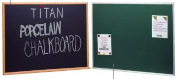 Black and green magnetic chalkboards for classrooms are displayed side by side.