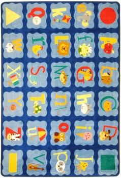 A rectangle shaped alphabet blues alphabet rug for a classroom.