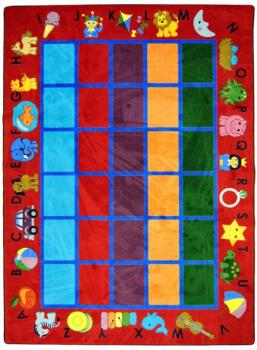 A red, rectangle shaped preschool classroom rug for a school