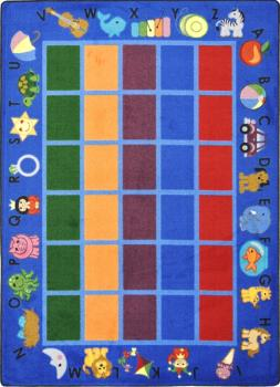 A blue, rectangle shaped preschool classroom rug for a school