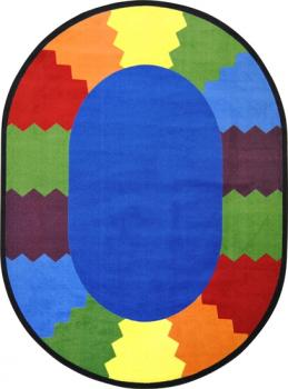 An oval shaped block party classroom carpet for a school.