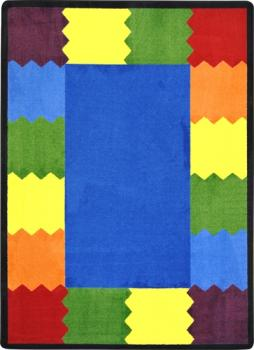 A rectangle shaped block party classroom carpet for a school.