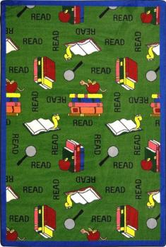 A rectangle shaped green children's area rug.