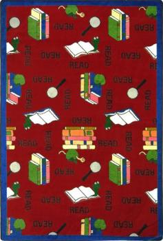 A rectangle shaped red children's area rug.