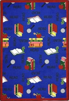 A rectangle shaped blue children's area rug.